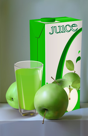 Still life of green apples. Apples package and glass of juice on them. Advertising apple juice. Vector