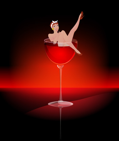 A glass of red wine. Sexy woman in a glass of wine. Naked girl in a glass of wine. Pin-up-girl