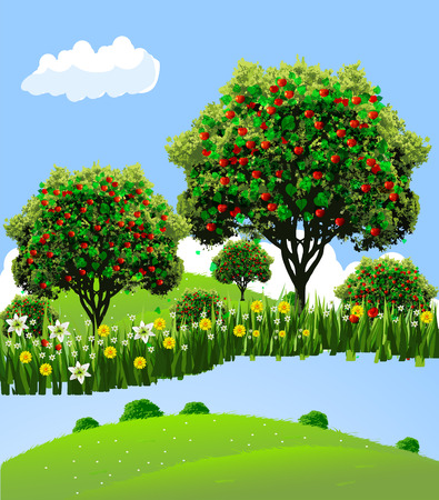 Apple landscape. Apple garden. River front apple garden. Flowers to apple garden. Vector