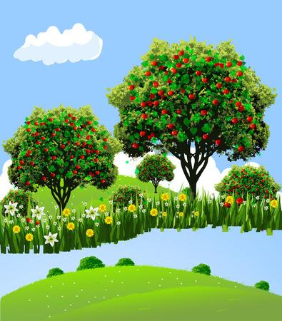Apple landscape. Apple garden. River front apple garden. Flowers to apple garden. Stock Illustratie