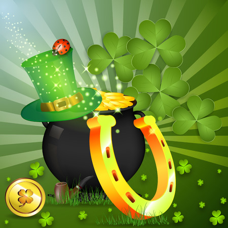 st pattys day: Gold Goblin. Cap of elf. Golden horseshoe for good luck. Composition on luck. St patricks day Illustration