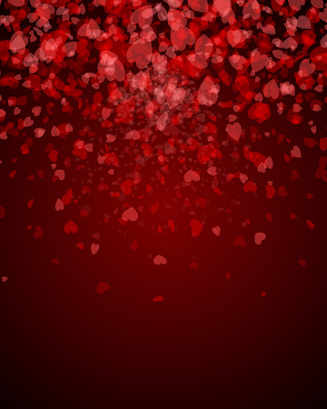 Abstract Background Valentines Day. Hearts falling in the form of leaflets. petals of red hearts. Vector