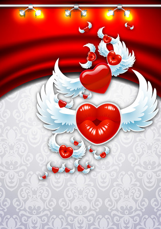 Winged heart on a background of red curtains. Background to the day of St. avlentyna. Open greetings Happy Valentine. Heart in the form of lips. Vector
