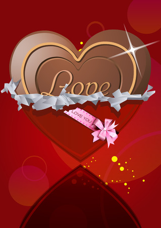 angle bar: Chocolate heart in the wrapper. The wrapper for chocolate candy. Sweet gift for Valentines Day.