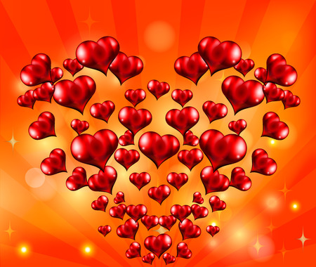 Abstract red hearts on abstract background. The heart of hearts. Background for Valentines Day. Vector