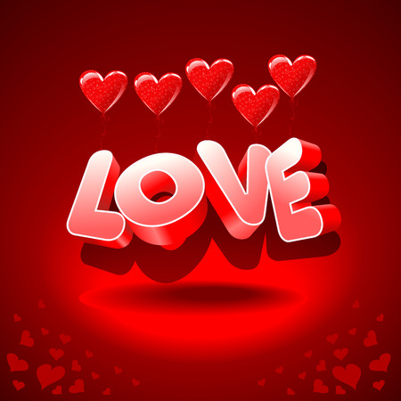 The word love air hearts. Background for Valentines Day. Composition to Valentine.