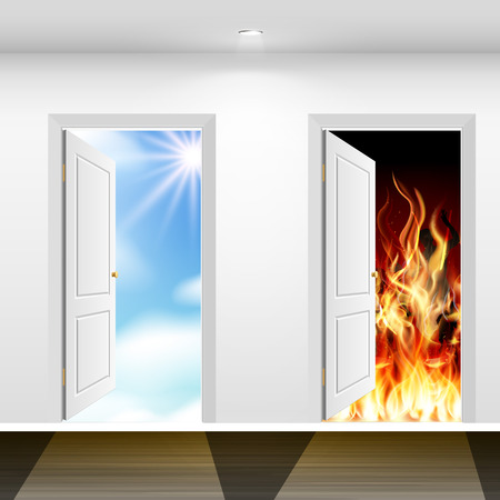 Doors and door to heaven to hell. From the good to the evil one step. Doomsday. Reklamní fotografie - 35586767
