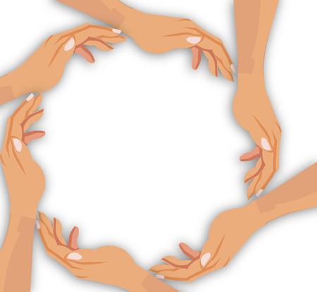 Das Konzept des Unternehmens. Hände Corporation. Kollektiven Bemühungen. Arbeitshand. Illustration