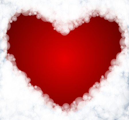 looking through an object: Heart formed by clouds, vector Valentines Day