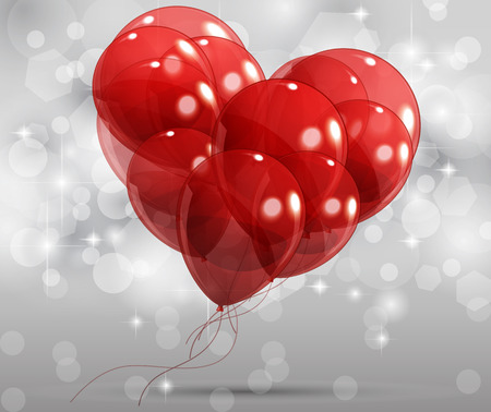 Heart with balloons, abstract vector illustration by day of Velentina Vector