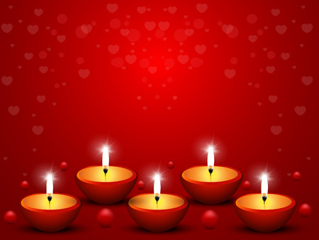 Illustration of romantic candles on celebratory Phony before Valentine Vector