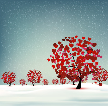 Winter landscape, flowering trees with leaves hearts.