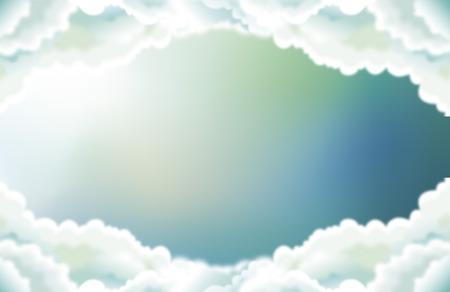 Art ilustración vectorial de cielo brillante del verano con las nubes.