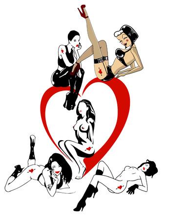ni�a desnuda: Sexy chica desnuda posando en la ilustraci�n del arte del coraz�n, vector.