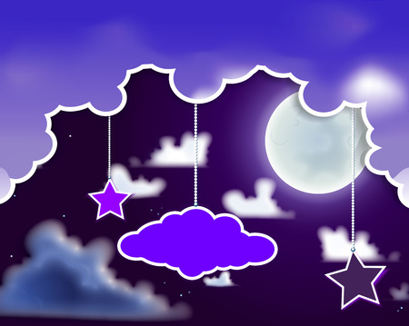 bleached: Night sky with stars and a month, vector art illustration