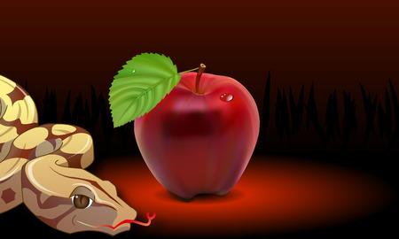 Serpent and Adams apple, vector art illustration apple of temptation.