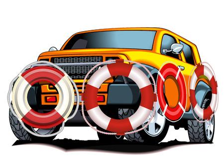 Lifebuoy car, vector art illustration insurance payments. Vector