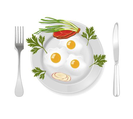bacon art: Bacon and eggs for breakfast, vector art illustration.