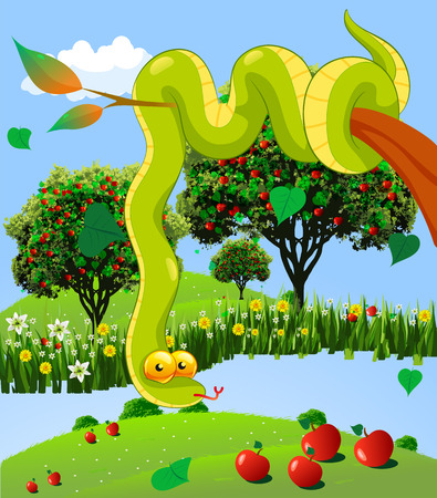 Garden of Eden, vector art illustration snake and an apple orchard. Ilustração