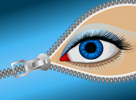 human eye close up: Eye of the man behind the zipper, vector art illustration covert glance.