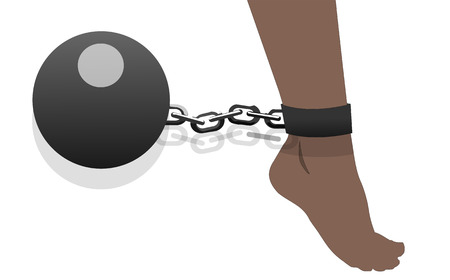 Womens feet shackled with metal bullet, vector art illustration violence.