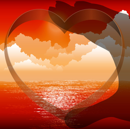 couple lit: Silhouette of hands with heart on background of sunset, vector illustration conceptual art.