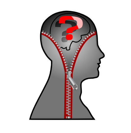 The mans head with a zipper, vector art illustration of the concept of hidden thoughts. Vector
