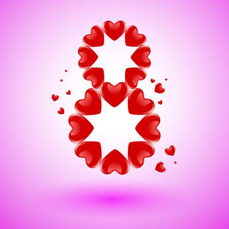 Cartolina dal cuore disposti in una figura 8, illustrazione arte vettoriale.