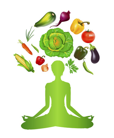 The concept of sports and meditation, vector art illustration vegetable diet and visual power.