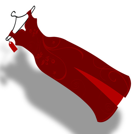 evening gown: Red evening gown, vector art illustration clothing.