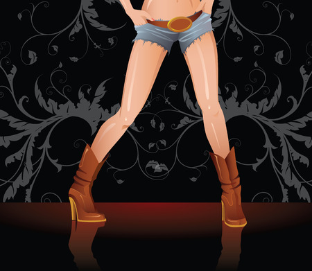 young woman legs up: Girl in denim shorts and shoes Illustration