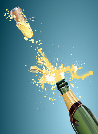 wine dinner: Shot a bottle of champagne, vector art illustration holiday.