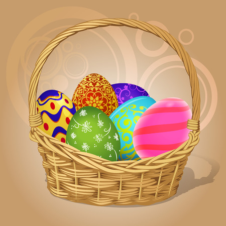 Basket with Easter eggs, vector art illustration. Vector