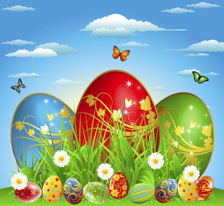 easteregg: Eggs on a green glade, vector art illustration.