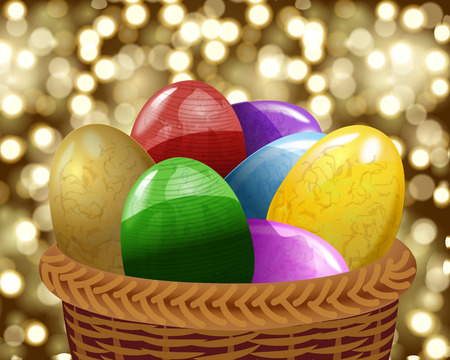 Eggs in the basket, vector art illustration Easter holiday. Vector