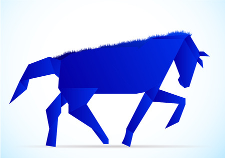 solitude: Horse-style origami, vector art illustration of a horse.