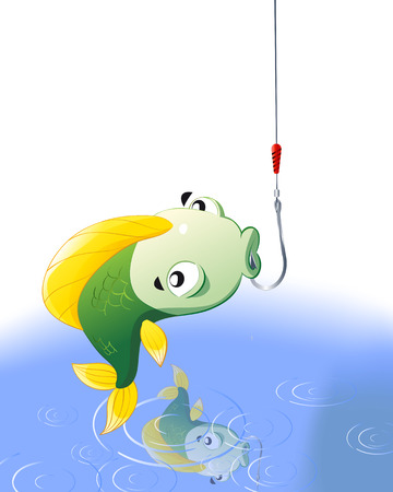 fighting fish: Fish on the hook, vector art illustration fishing.