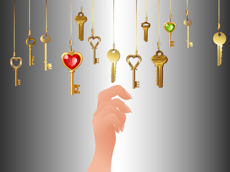 intuitive: Lots of hanging keys and hand, vector art illustration.