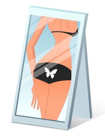 La parte posterior de una hermosa niña en el arte de la ilustración del espejo, vector. Foto de archivo - 46248194