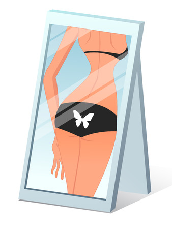 The back of a beautiful girl in the mirror, vector art illustration. Illustration