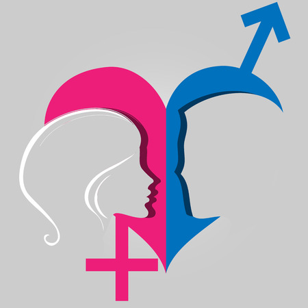 The concept of relations between men and women, vector art illustration. Illustration