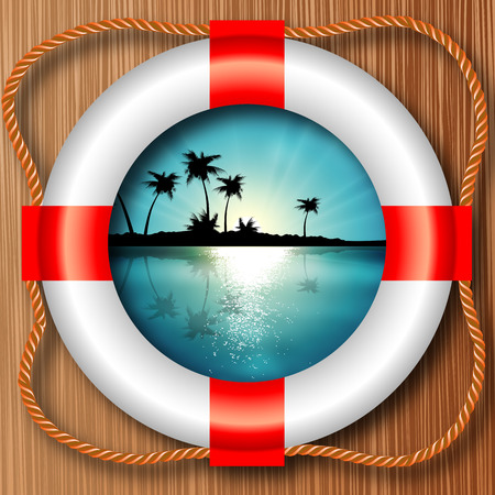 lifeline: View of the island with palm trees with a boat with a lifeline, vector art illustrations.