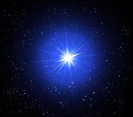 hosszú expozíció: Supernova in space, vector art illustration of a starry sky. Illusztráció
