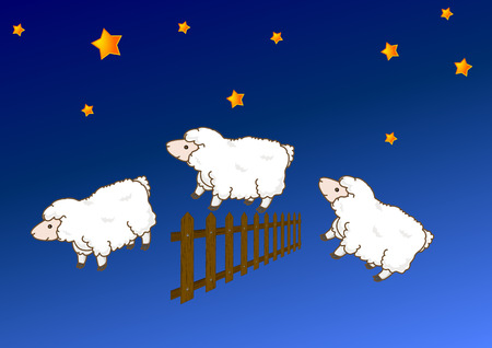 Sheep jumping over a fence, vector art illustration. Vector