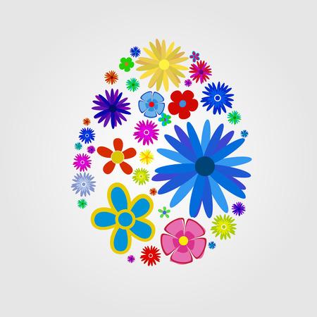 Easter egg from flowers, vector art illustration for Easter. Vector