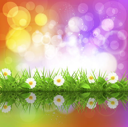 grass close up: Flowers on the background with bukeh, vector art illustration.