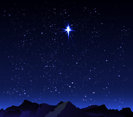 hill distant: Mountains on the background of the night sky, vector art illustration. Illustration