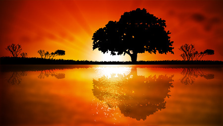 Island with trees at sunset, vector art illustration. Vector