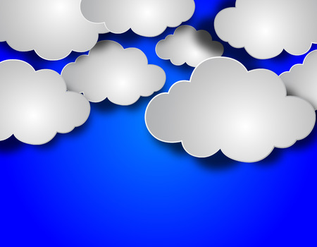 mid air: Paper clouds on blue background, vector art illustration cloudy sky. Illustration