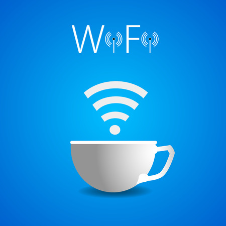 residential zone: Wai Fai a cup of coffee, vector art illustration advertising Wi fi in the cafe. Illustration